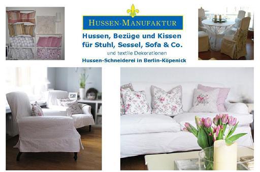 hussen manufaktur hussen schneiderei in berlin k penick anfertigung von hussen bez gen und. Black Bedroom Furniture Sets. Home Design Ideas