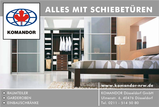 alles mit schiebet ren komandor d sseldorf gmbh einbauschr nke raumteiler garderoben. Black Bedroom Furniture Sets. Home Design Ideas