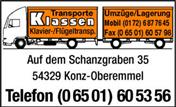 Logo von Klassen Transporte